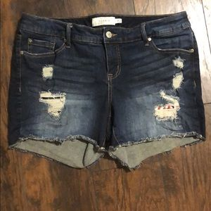 ✝️ Torrid darkwash frayed shorts